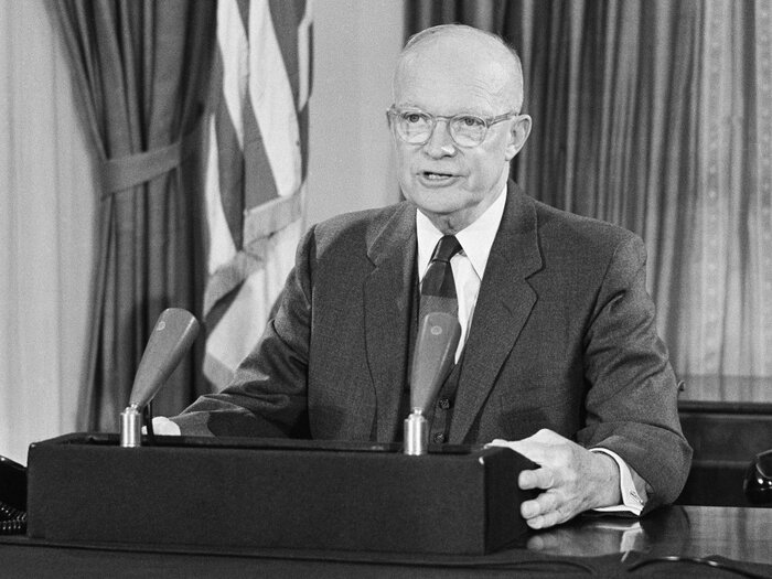 In his final speech from the White House, President Dwight D. Eisenhower warned that an arms race would take resources from other areas -- such as building schools and hospitals.