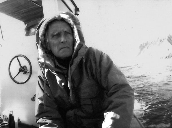 "Edmund ""Ted"" Carpenter on a ship from a Greenland expedition in the 1990s."