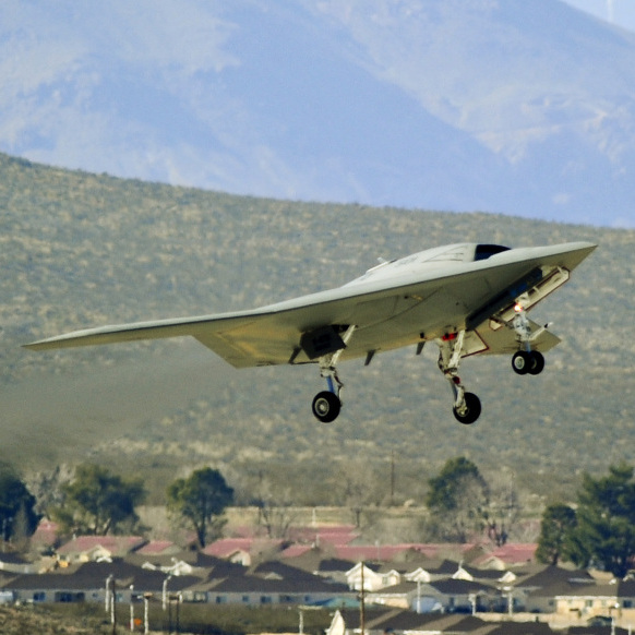 A drone takes its first flight at Edwards Air Force Base in California in February. In the near future, drones could be used outside of the military for things like traffic helicopters or flying jumbo jets.