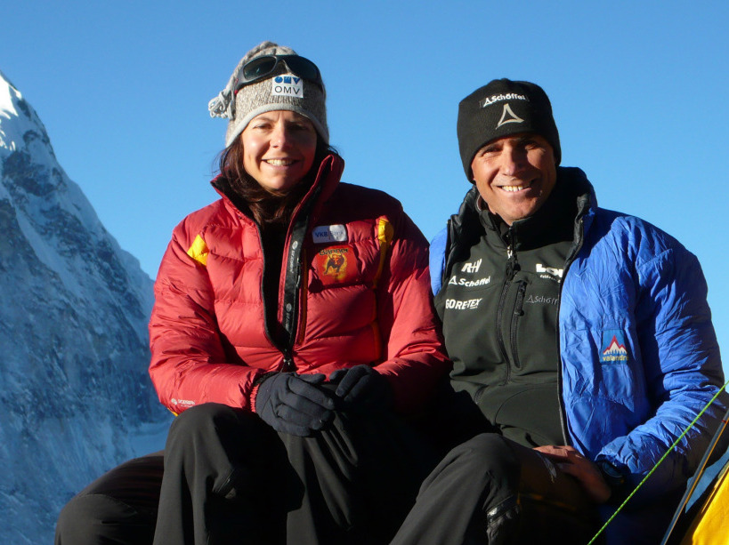 Climber Gerlinde Kaltenbrunner sits with her husband, Ralf Dujmovits, in this file photo from 2009. This week, Kaltenbrunner became the first woman to climb all of the world's 14 tallest peaks without using supplementary oxygen.