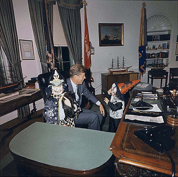 John F. Kennedy and Halloween visitors to the Oval Office, 1963