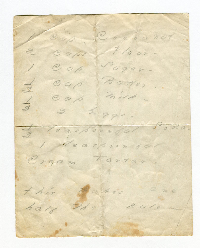 The Poets House in New York City is exhibiting this manuscript of an Emily Dickinson cake recipe that calls for coconut.