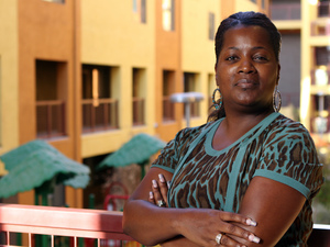 Felicia McMullen has lived in the energy-efficient Devine Legacy apartment building in central Phoenix since December.