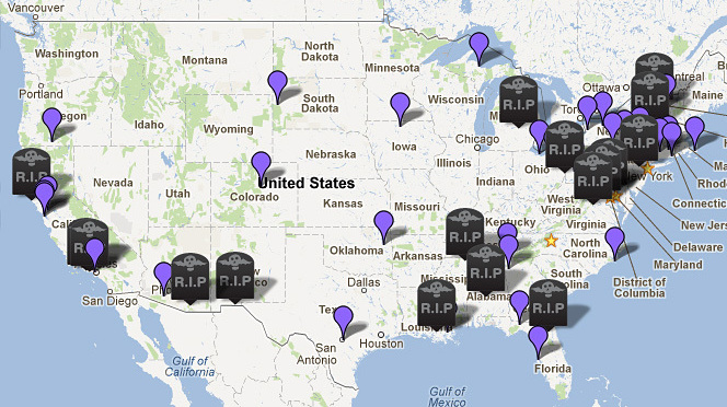 Dead Stop  Road Trip Map   WBUR News Our summer road trip maps strange  funny  historic and notable gravesites  across America