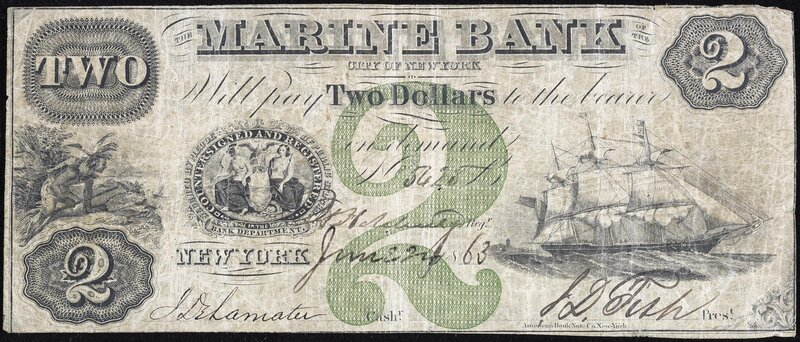 Two-dollar note from a New York bank