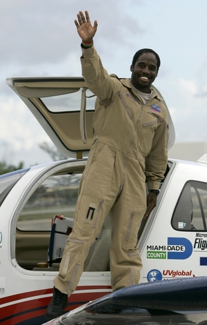"Irving returned to the Miami-area city he left March 23, 2007 in a Columbia 400 built of donated parts. He was optimistic his 27,000-mile continent-hopping trip aboard the ""Inspiration"" would live up to the plane's name and motivate young people _ especially minorities."