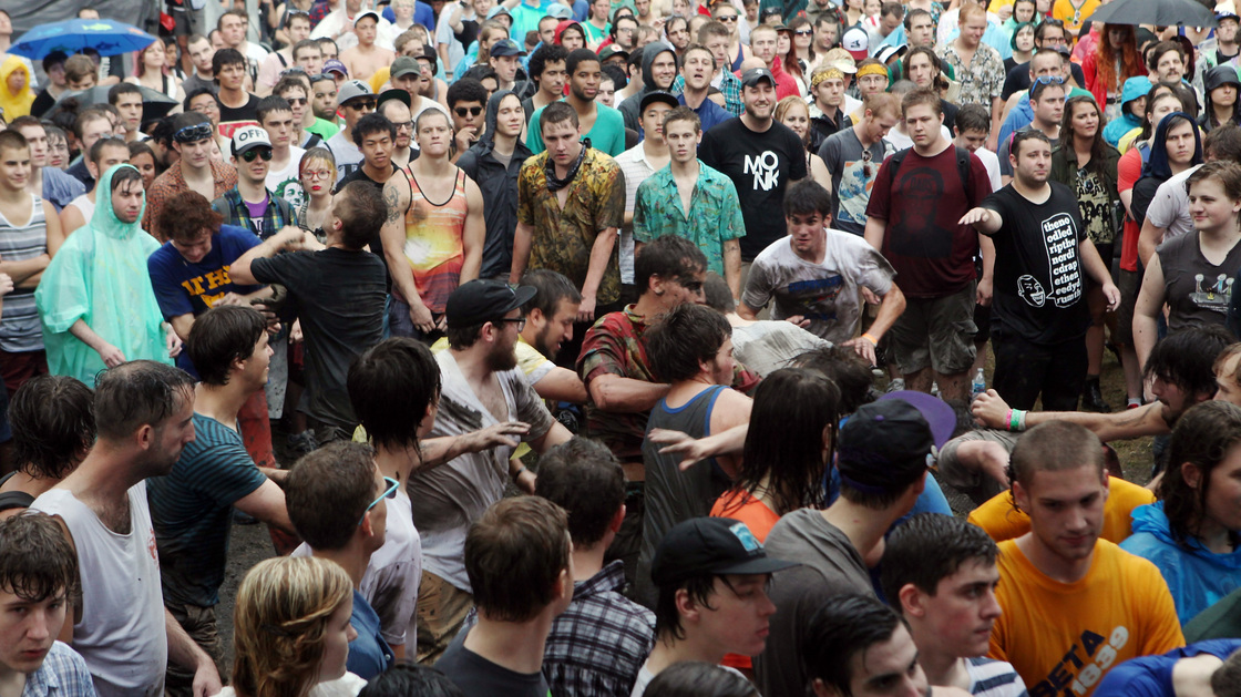 Fans in the mosh pit during the performance of Liturgy at the 2012 Pitchfork Music Festival in Union Park, Chicago, on July 14, 2012.