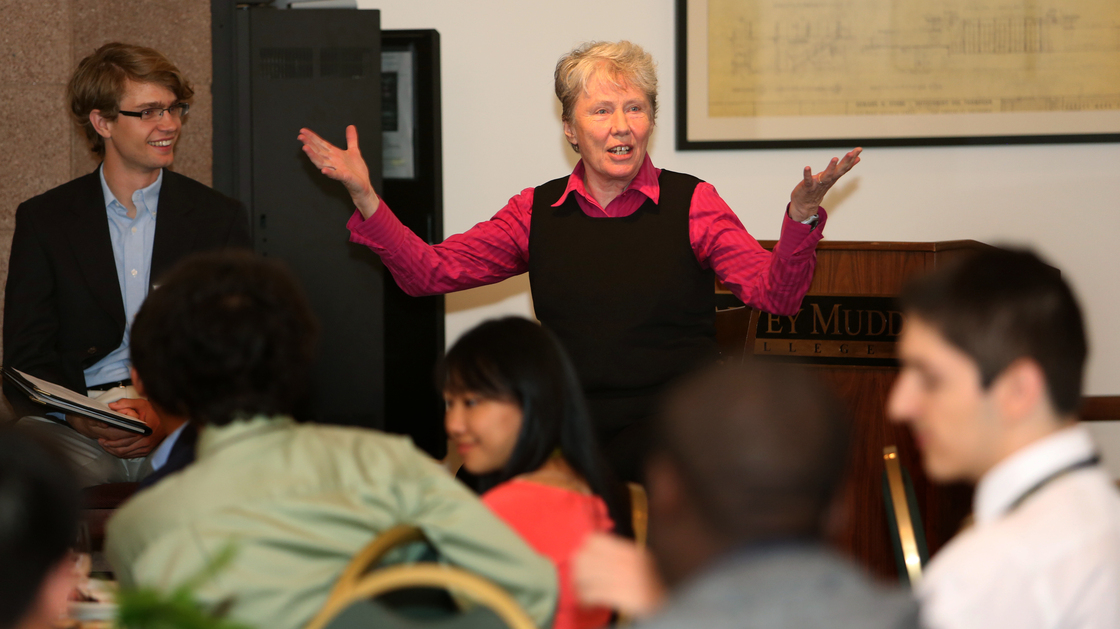 Harvey Mudd College President Maria Klawe talks to a group of newly admitted students on the campus in Claremont, Calif. Klawe has had a great deal of success getting more women involved in computing.