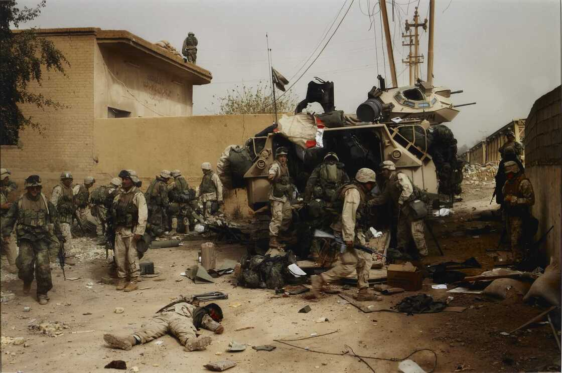 Death of a Marine at Dyala Bridge, near Baghdad, Iraq, 2003