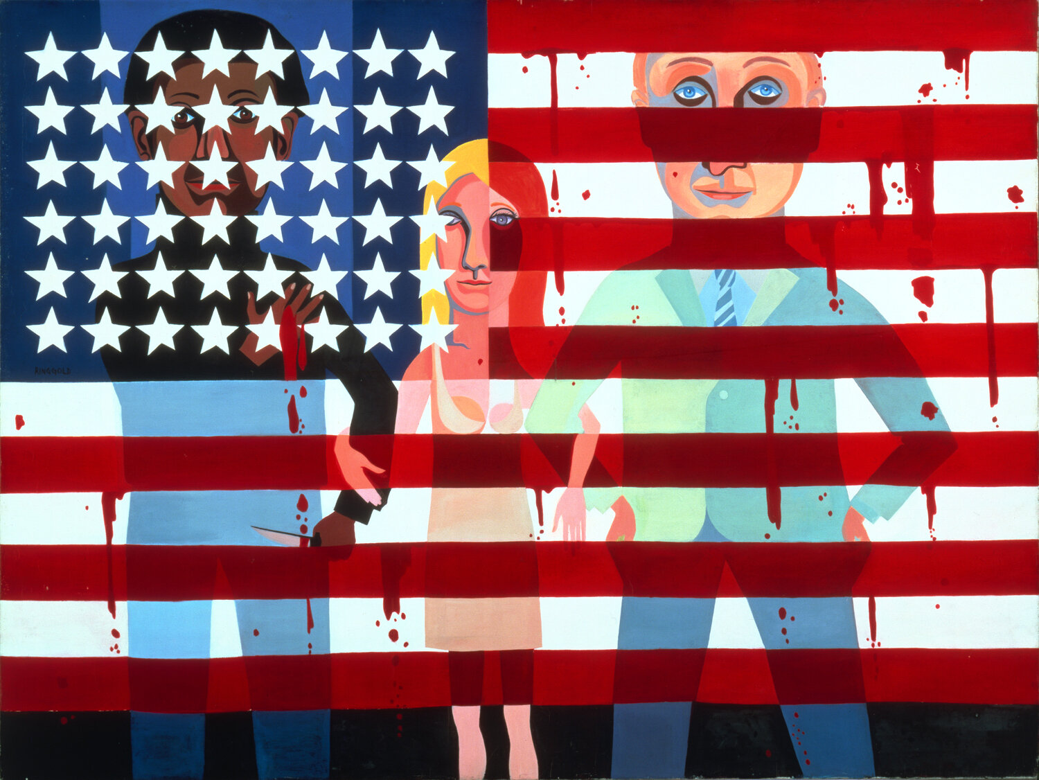 "In 1963, Faith Ringgold began a series of 20 paintings called ""The American People."" She she wanted to create images that would make people really look. ""The more they look, the more they see,"" she says. Above, #18: The Flag Is Bleeding, 1967, oil on canvas."