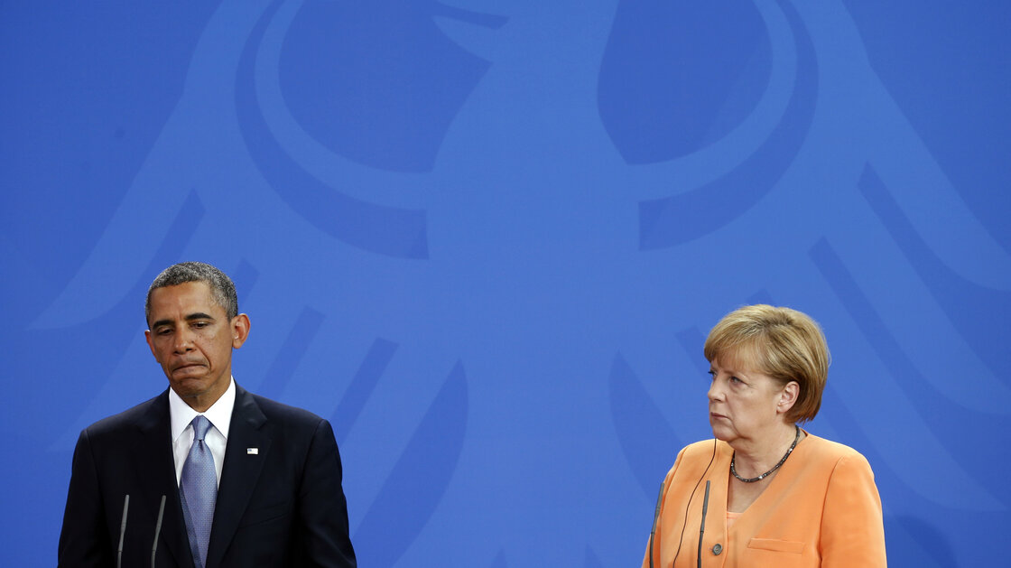 President Obama and German Chancellor Angela Merkel at a news conference in Berlin in June. A German newspaper reported Sunday that Obama had known since 2010 that his intelligence service was eavesdropping on Merkel. The story came a day after reports alleged Obama told Merkel he was not aware she was being spied on.
