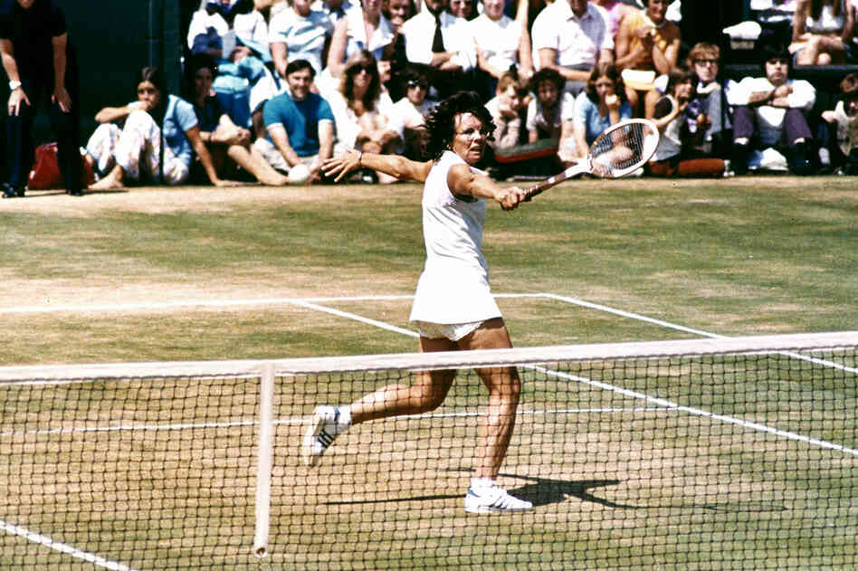 "Billie Jean King plays in the ""Battle of the Sexes"""" tennis match against Bobby Riggs on Sept. 20, 1973. King went on to beat Riggs in the highly watched match."