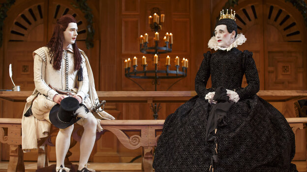 Mark Rylance as Olivia (right) and Samuel Barnett as Viola in Twelfth Night. The Broadway production, which first played at London's Globe Theatre, is done in the Elizabethan tradition, with an all-male cast.