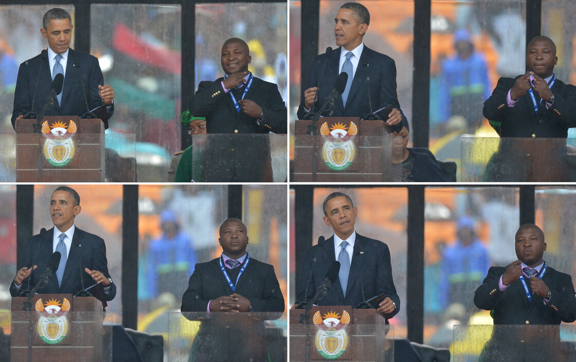 President Barack Obama speaks at Nelson Mandela's memorial service in Johannesburg. Standing to his right, Thamsanqa Jantjie gestures as if he is interpreting the speech for the deaf community.