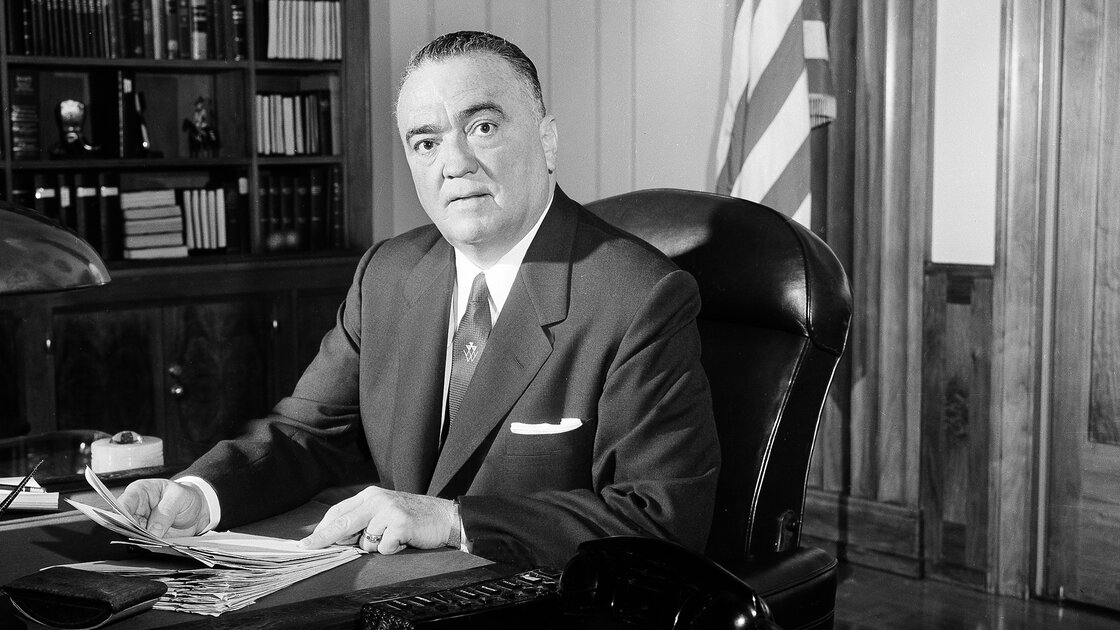 F.B.I. director J. Edgar Hoover is seen in his Washington office, May 20, 1963. The 1971 burglary of one of the Bureau's offices revealed the agency's domestic surveillance program.