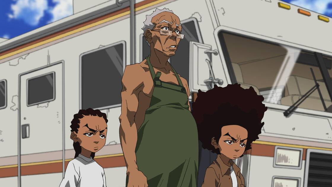 "Riley, Granddad and Huey in a scene from the ""Breaking Granddad"" episode of the animated series The Boondocks."