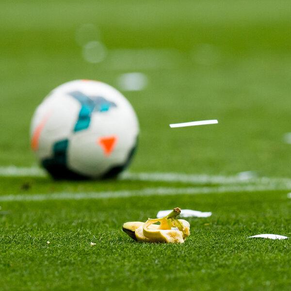 A banana thrown earlier this season by supporters of RCD Espanyol during the La Liga match between RCD Espanyol and FC Barcelona at Cornella-El Prat Stadium.