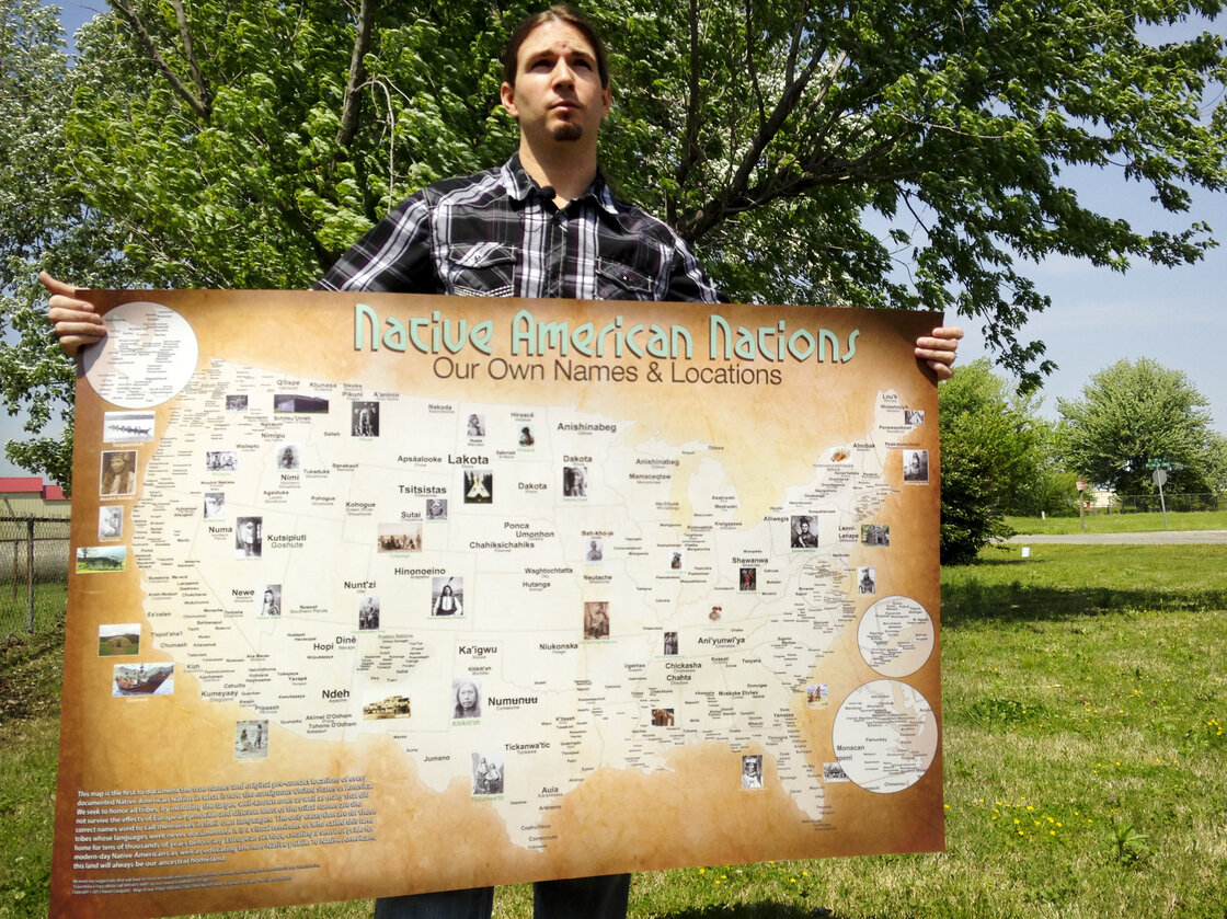 Aaron Carapella, a self-taught mapmaker in Warner, Okla., has designed a map of Native American tribes showing their locations before first contact with Europeans.