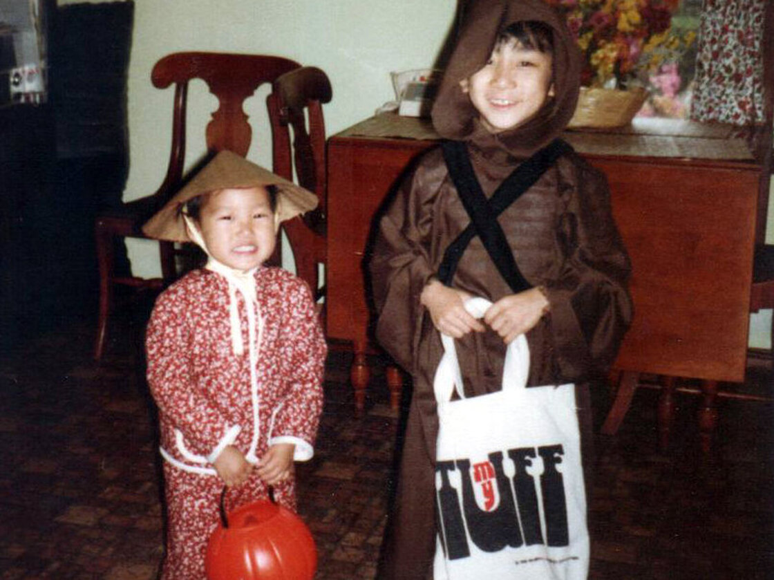 The author (right) and his sister, one awkward Halloween day.