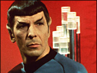 Leonard Nimoy as Mr. Spock. The character's mixed Vulcan and human heritage set him apart from the rest of the Star Trek crew.