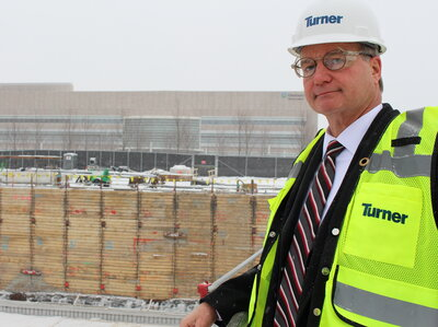 Cliff Kazmierczak of Turner Construction oversees the building of the Cleveland Clinic's new cancer outpatient center.