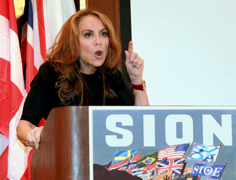 Blogger Pamela Geller speaks at a Sept. 11, 2012, conference she organized in New York titled