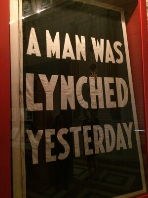 This sign, which the NAACP used to hang outside its headquarters every time a person was lynched in the United States, is part of a Library of Congress exhibit documenting the civil rights movement.