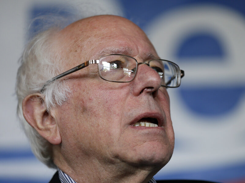 Democratic presidential candidate Sen. Bernie Sanders speaks during a rally Saturday.