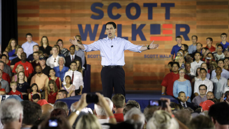 """Instead of the top-down, government-knows-best approach we hear from politicians in Washington, we need to build the economy from the ground up in a way that is new and fresh, organic and dynamic,"" Gov. Scott Walker said, announcing his candidacy in Waukesha, Wis."