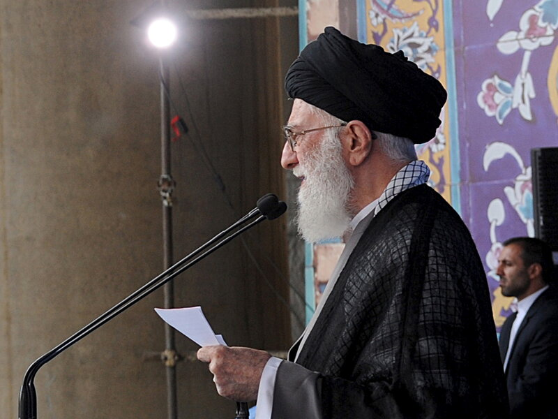 "Iran's Supreme Leader Ayatollah Ali Khamenei delivers a sermon during morning prayers for the Eid al-Fitr holiday, marking the end of the holy month of Ramadan. He signaled his approval of the nuclear agreement with Western powers but reiterated that Tehran's policy toward the ""arrogant"" United States would not change."