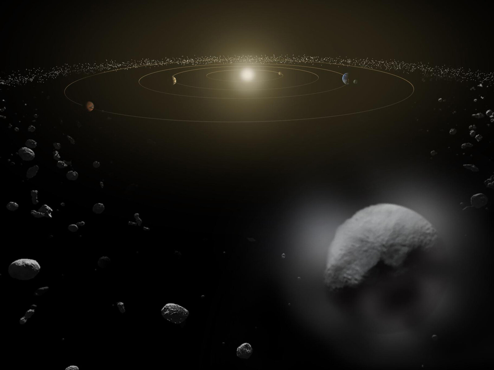 Dwarf planet Ceres is seen in the main asteroid belt, where it resides well away from Earth. NASA is hoping to quell online rumors that a massive near-Earth asteroid is due to hit us next month.