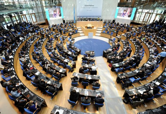 Delegates took their seats during the plenary session at the Bonn climate change conference on March 10, 2014. Negotiations resume this week; by the end of the year, the U.N. hopes to have forged a new global agreement.