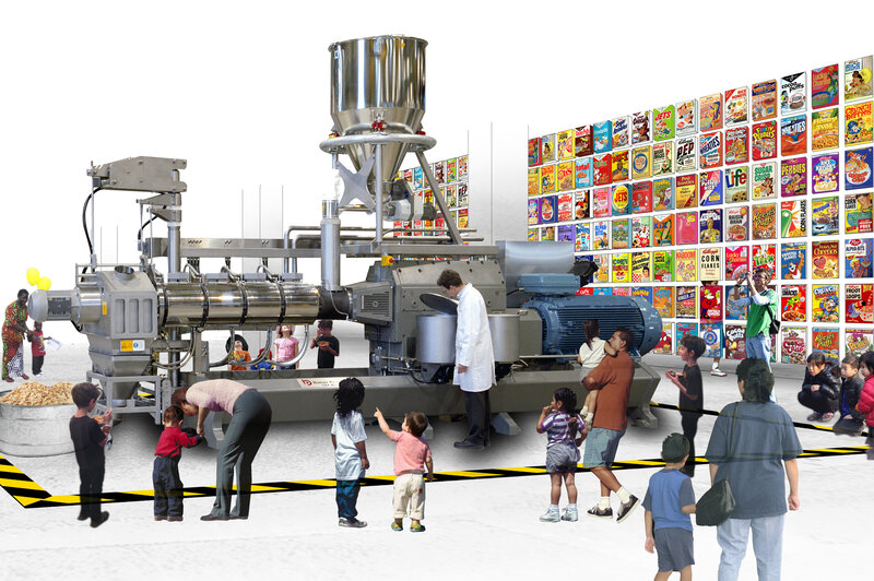 The Food and Drink Museum will open in its first permanent home – a mini-museum in Brooklyn — in October. The plan is to move into a bigger, final home by 2019. Above, an artist's rendering shows one potential exhibit – on ready-to-eat cereal — in MOFAD's final space. In the foreground is an extruder, a giant machine used to cook and shape cereal.