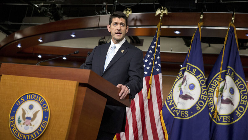 Rep. Paul Ryan, R- Wis., at a news conference following a meeting of House Republicans Tuesday night. Ryan says he will run for House speaker if the disparate GOP factions can get behind him.