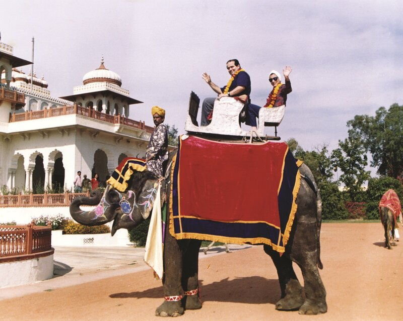Antonin Scalia and Ruth Bader Ginsburg having fun on an elephant. From the archive of the Supreme Court of the United States.