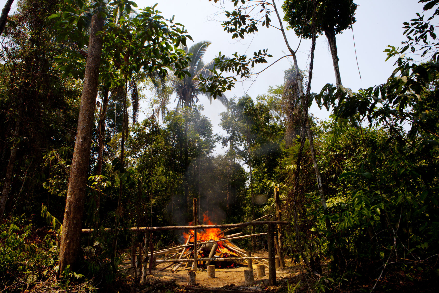 One of three illegal logging camps dismantled and set on fire by Elizeu Berçacola and his crew.