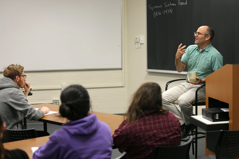 """Phil Zuckerman speaks to his class at Pitzer College in Claremont, Calif. Zuckerman specializes in the study of """"nonreligious"""" people."""