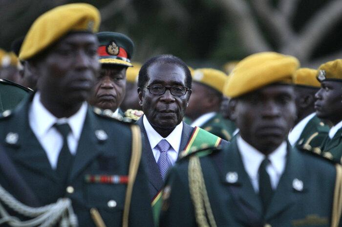 Zimbabwean President Robert Mugabe at his inauguration ceremony at State house in Harare, Zimbabwe, 2008.