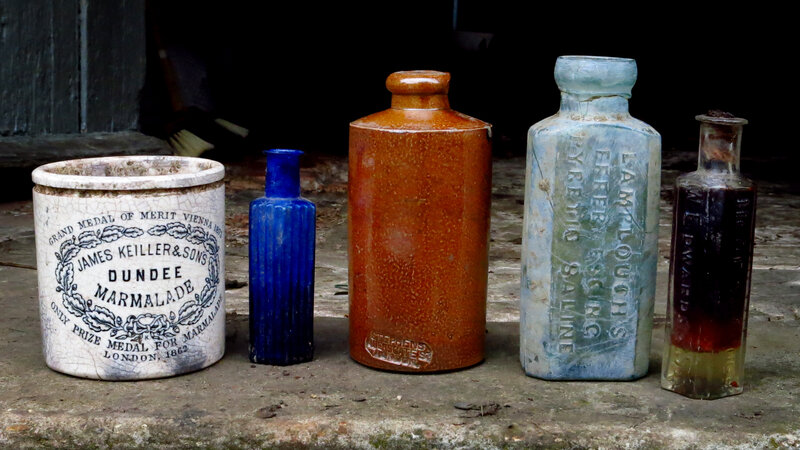 A Dundee marmalade jar (left) is among items recently unearthed from a 19th century landfill behind a manor house in East Anglia. In Victorian England, people transitioned from making most things at home to buying them in stores.