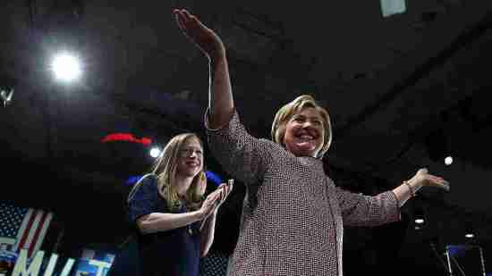 Chelsea Clinton stands behind her mother after Hillary Clinton won the New York Democratic primary in April.