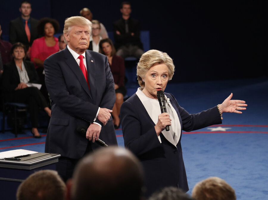 Hillary Clinton speaks while Donald Trump stalks at the Second Presidential Debate, 10-9-2016.