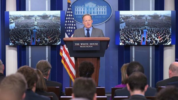 White House Press Secretary Sean Spicer delivers a statement in the Brady Briefing Room of the White House on Saturday.