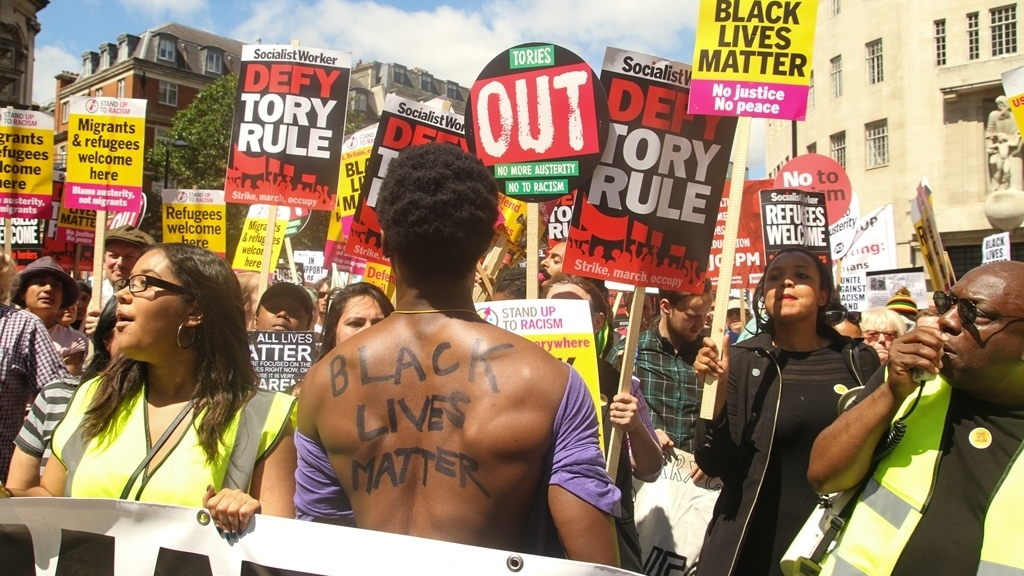After the Brexit referendum, demonstrators marched to Parliament Square, calling for an end to Austerity, No To Racism and demanding the end of Tory rule.