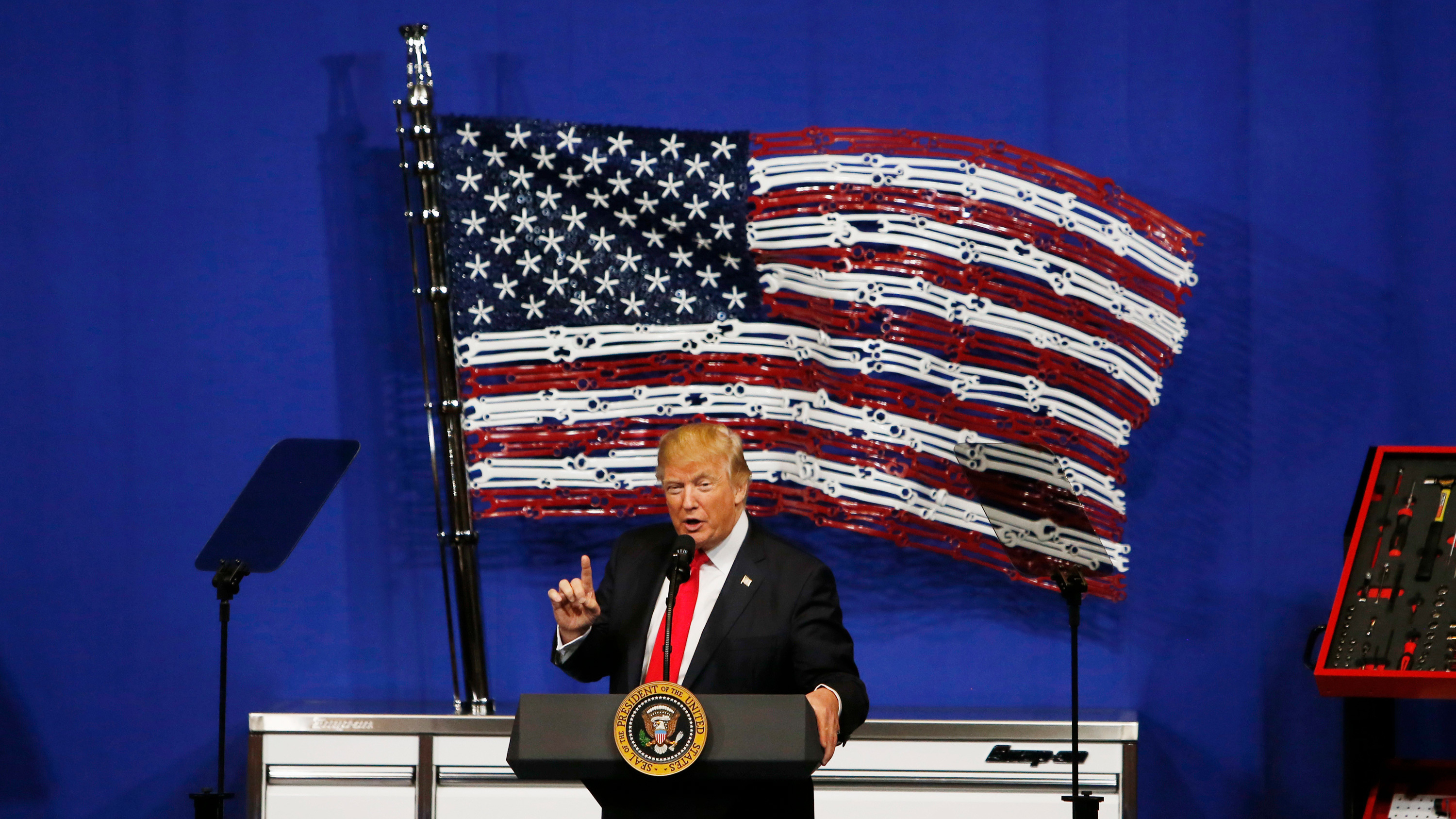 President Trump speaks at Snap-On Tools Tuesday in Wisconsin.