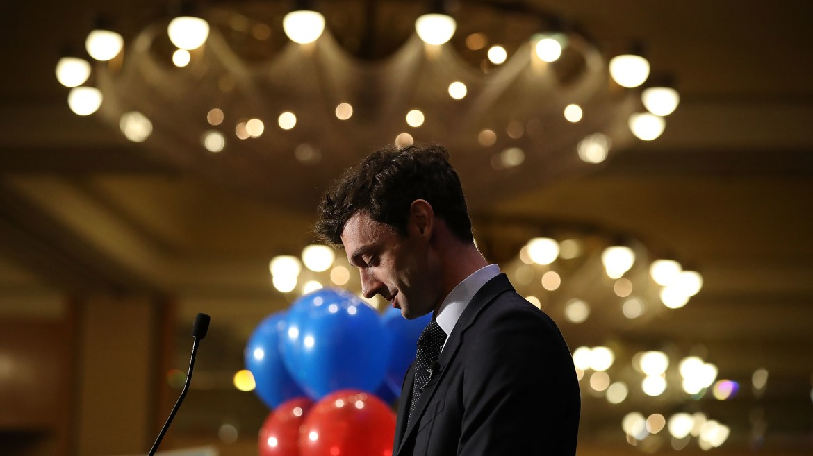 Democratic candidate Jon Ossoff speaks to his supporters as votes continue to be counted in the race for Georgia