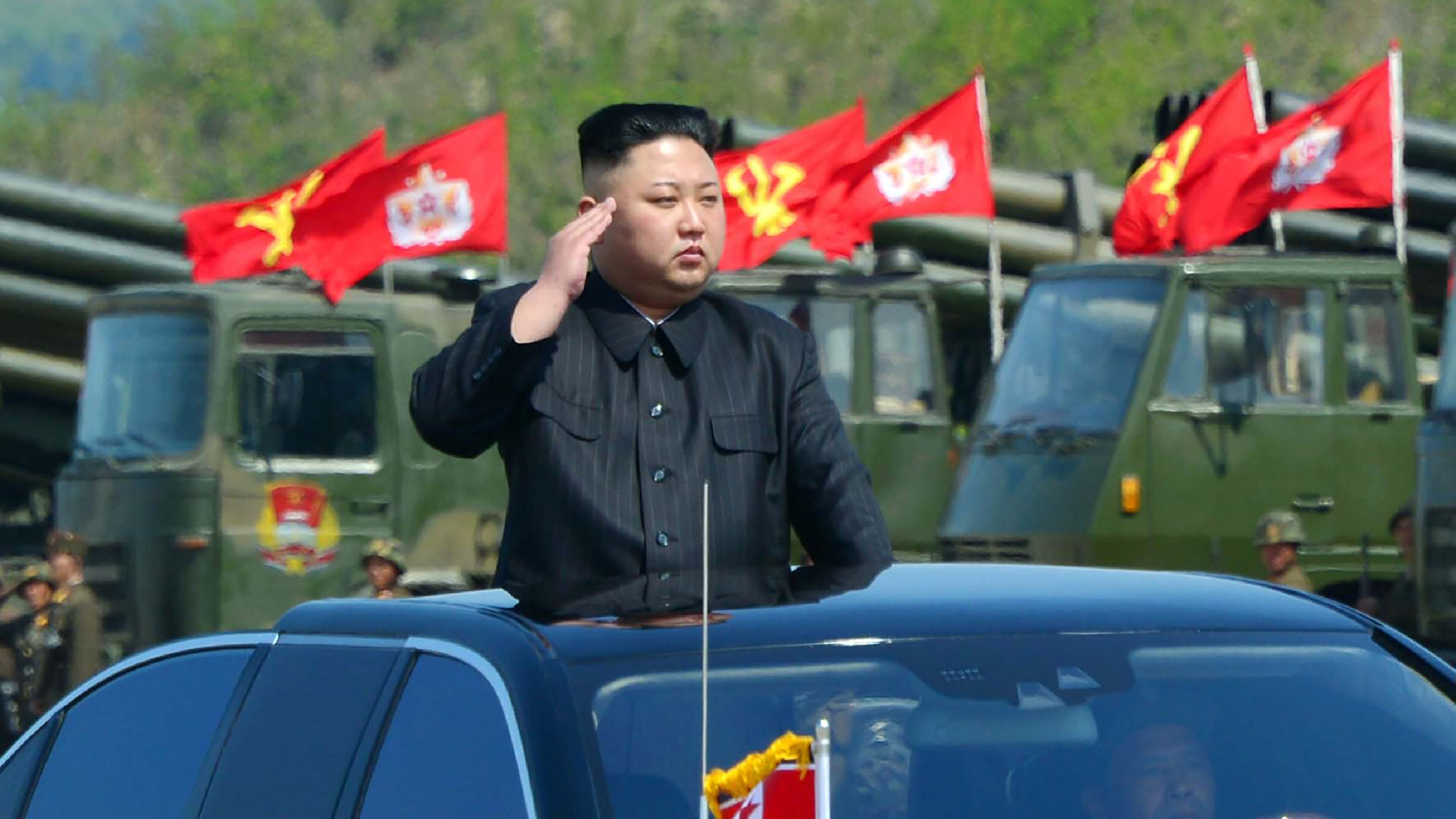 North Korean leader Kim Jong Un attends the combined fire demonstration of the services of the Korean People