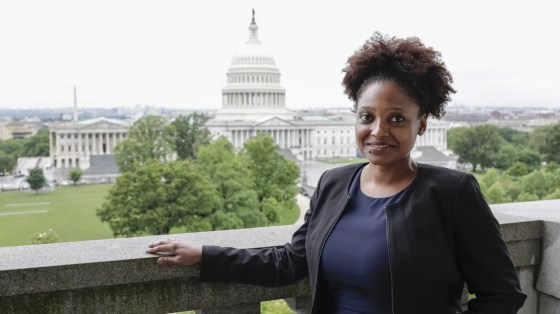 The new poet laureate of the United States, Tracy K. Smith, visits the Library of Congress Poetry and Literature Center in Washington, D.C., last month.