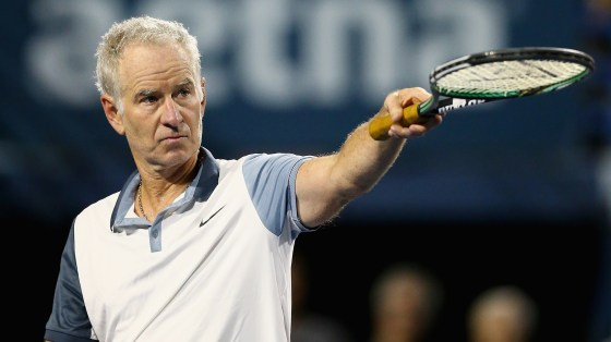 John McEnroe reacts during a Men
