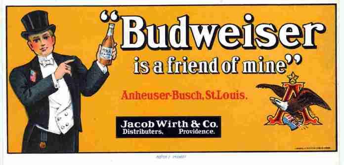 An advertisement for Budweiser beer, Anheuser-Busch, St. Louis, Mo.