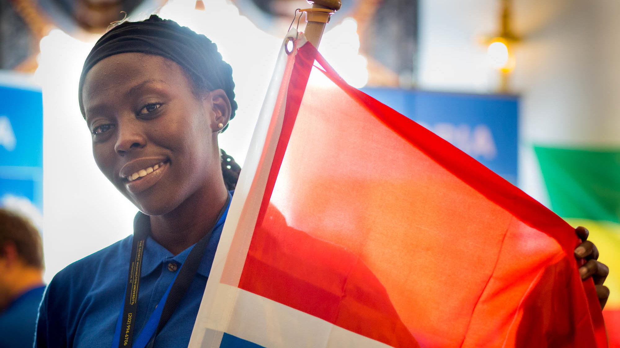 Fatoumata Ceesay of team Gambia displays her country